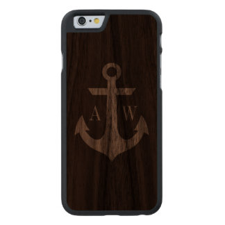 Rustic Dark Wood Anchor Monogrammed Case