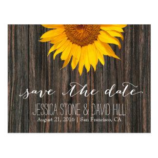Rustic Dark Wood & Sunflower Wedding Save the Date Postcard