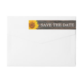 Rustic Dark Wood & Sunflower Wedding Save the Date Wraparound Return Address Label