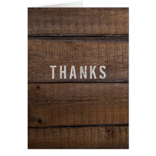 Rustic Dark Wood Thank You From Groom Card