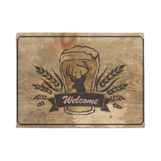 Rustic Deck Wood / Beer / Deer / Barley Doormat