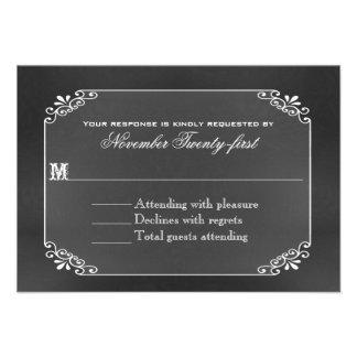Rustic Decorative Chalk Board Wedding RSVP Card
