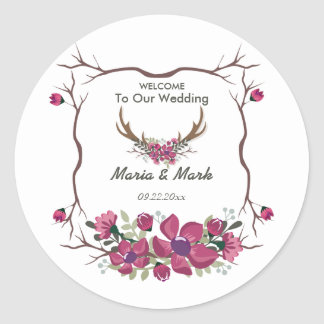 Rustic Decorative Floral Wedding Round Sticker