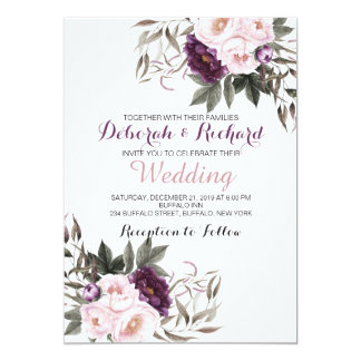 Rustic Deep Purple Peony Floral Wedding Card