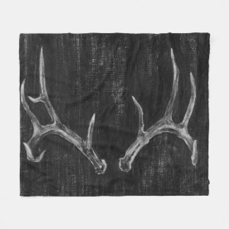 Rustic Deer Animal Head on Chalkboard Fleece Blanket