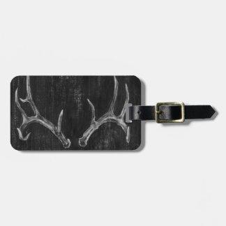 Rustic Deer Animal Head on Chalkboard Luggage Tag