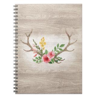Rustic Deer Antler Bohemian Floral Watercolor Wood Notebook
