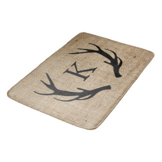 Rustic Deer Antler Faux Burlap Monogram Bath Mat