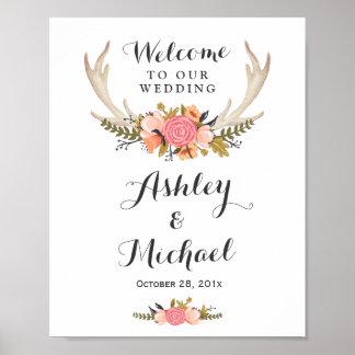 Rustic Deer Antler Floral Wedding Reception Sign Poster