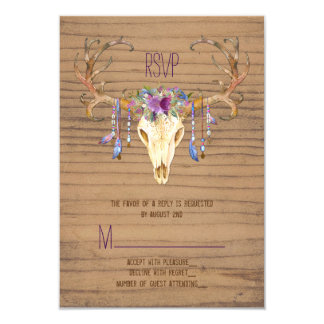 Rustic Deer Antler Skull Southwestern Wedding RSVP 9 Cm X 13 Cm Invitation Card