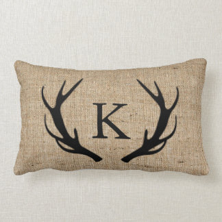 Rustic Deer Antler with Monogram Faux Burlap Lumbar Pillow