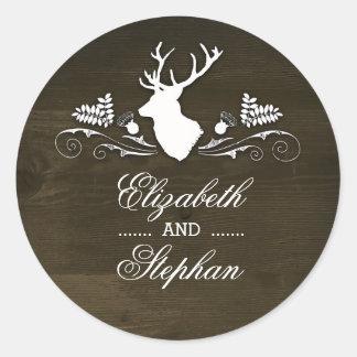 Rustic Deer Antlers Barn Wedding Classic Round Sticker
