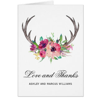 Rustic Deer Antlers Boho Floral Card