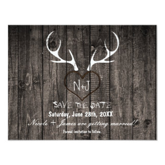 Rustic Deer Antlers & Carved Heart Save The Date 11 Cm X 14 Cm Invitation Card