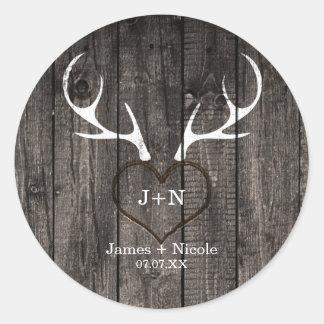 Rustic Deer Antlers & Carved Heart Wedding Favor Round Sticker