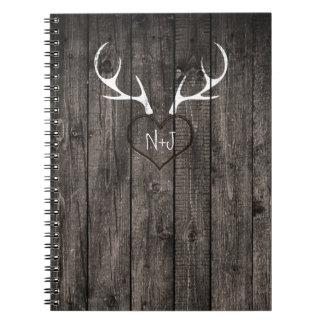 Rustic Deer Antlers & Carved Heart Wedding Notebook