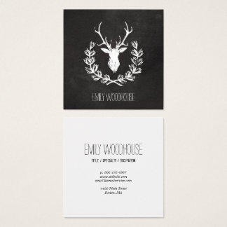 Rustic Deer Antlers | Chalkboard Square Business Card