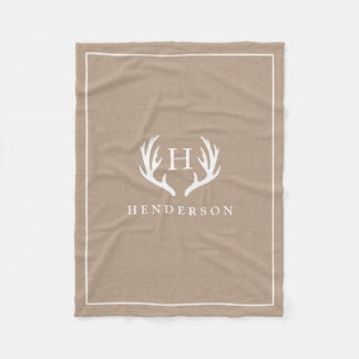 Rustic Deer Antlers Monogram Burlap Fleece Blanket