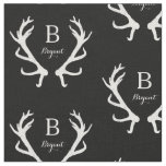 Rustic Deer Antlers Monogram, Choose Your Colour Fabric