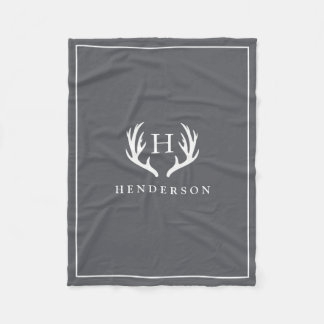 Rustic Deer Antlers Monogram Grey Fleece Blanket