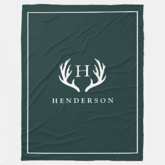 Rustic Deer Antlers Monogram Pine Green Fleece Blanket