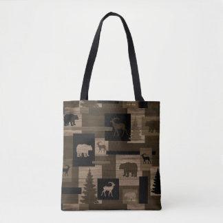 Rustic deer bear wood print all over tote bag