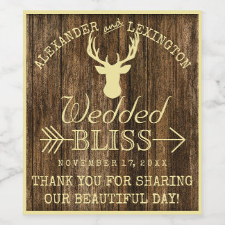 Rustic Deer Buck on Wood Hunter's Wedding Wine Label