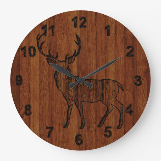 Rustic Deer carved in wood Effect Large Clock