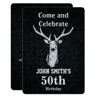 Rustic Deer Hunting Men's Birthday Invitations