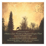 Rustic Deer in Trees Country Wedding Invitations Announcement
