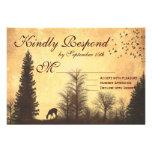 Rustic Deer in Trees Country Wedding RSVP Cards