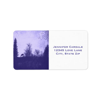 Rustic Deer in Trees Purple Country Address Labels