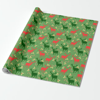 Rustic Deer Red Green Christmas Wrapping Paper