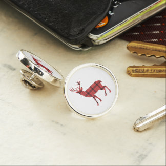 Rustic Deer Silhouette Red and Black Plaid Check Lapel Pin
