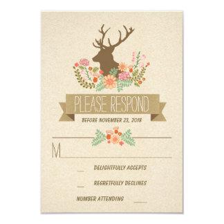 Rustic deer wedding RSVP cards 9 Cm X 13 Cm Invitation Card