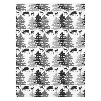 Rustic Deer Winter Woodland Animals Pine Trees Tablecloth