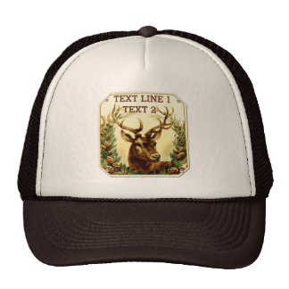 Rustic Deer with Pine Cones Personalized Trucker Hats
