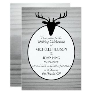 Rustic Deer Wooden Winter Wedding Invitation