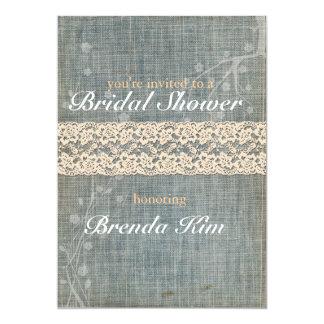 Rustic Denim Lace Bridal Shower Invitation