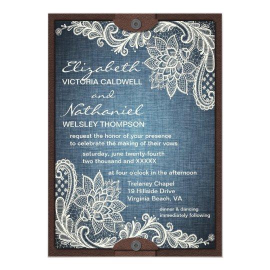 Rustic Denim Lace & Leather Wedding Invitation