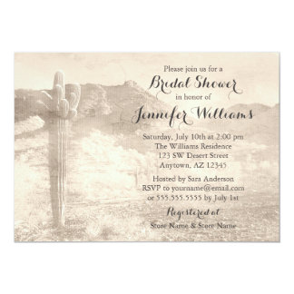 Rustic Desert Cactus Tan Bridal Shower Card