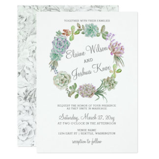 Rustic Desert Succulent Wreath Wedding Invitation