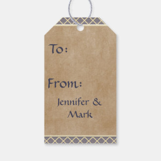 Rustic Diamond Pattern in Slate Gray and Taupe Gift Tags