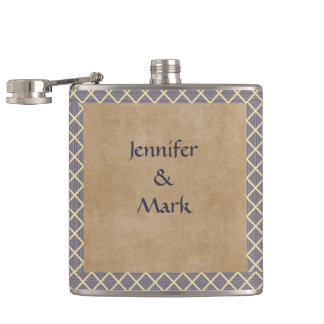 Rustic Diamond Pattern in Slate Gray and Taupe Hip Flask