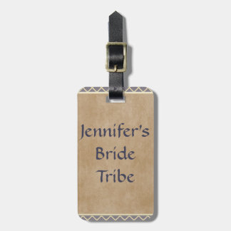 Rustic Diamond Pattern in Slate Gray and Taupe Luggage Tag