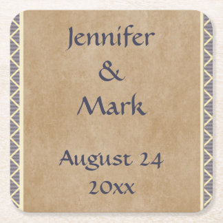 Rustic Diamond Pattern in Slate Gray and Taupe Square Paper Coaster