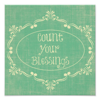 Rustic distressed with Count your Blessings Quote Print