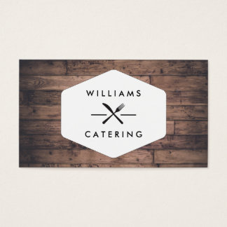Rustic Distressed Wood Fork Knife Intersect Logo