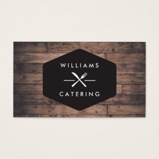 Rustic Distressed Wood Fork Knife Intersect Logo 2 Business Card