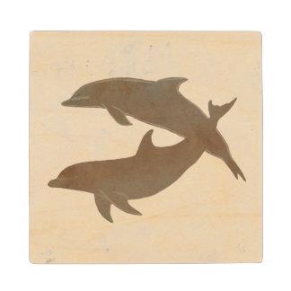 Rustic Dolphins Beach Wedding Maple Wood Coaster
